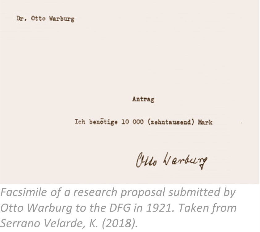 Facsimile of a research proposal submitted in 1921